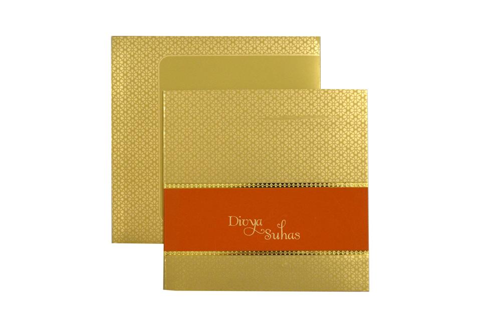 Golden & Orange Wedding Card Design PR 333 c