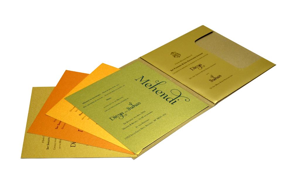 Golden & Orange Wedding Card Design PR 333 e