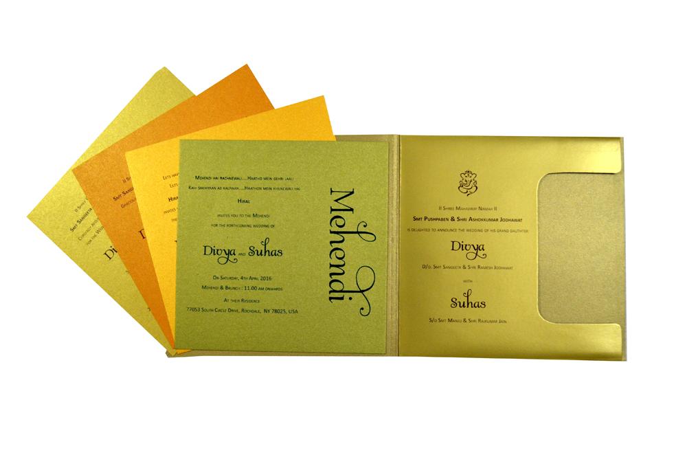 Golden & Orange Wedding Card Design PR 333 f