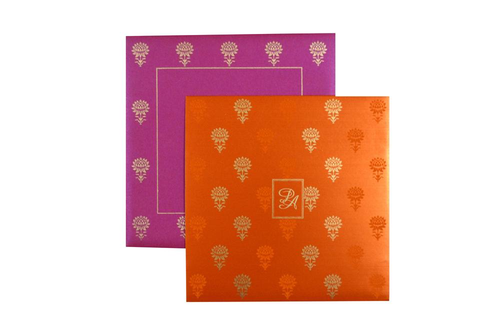 Pink and Orange Designer Wedding Card PR 347 d