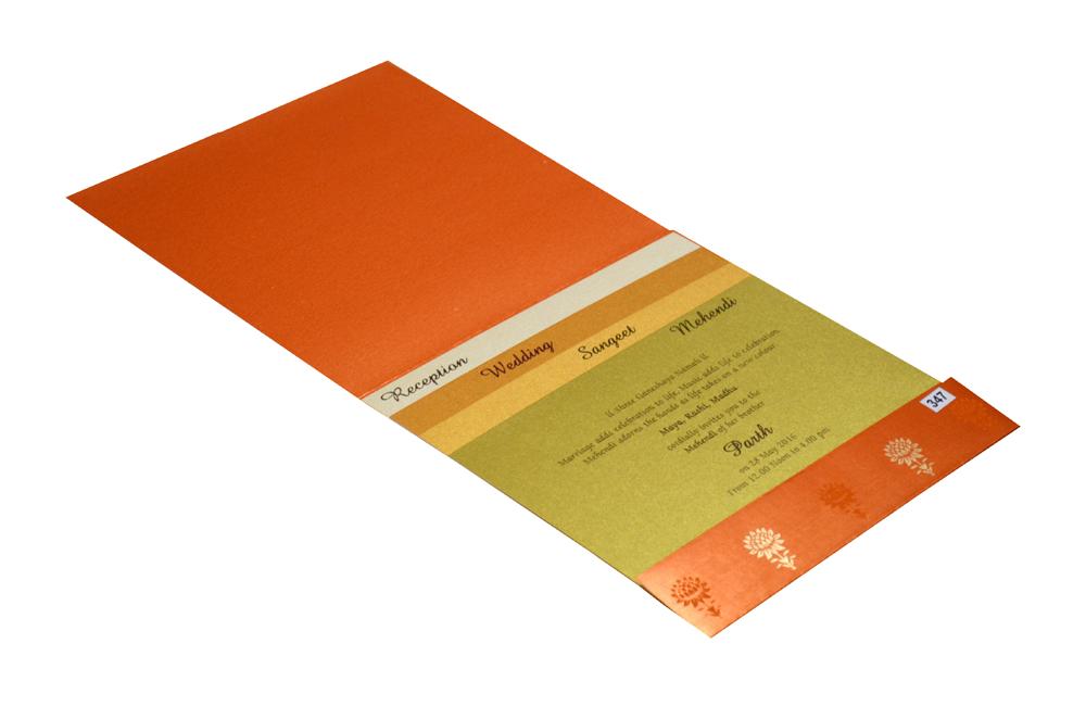 Pink and Orange Designer Wedding Card PR 347 e