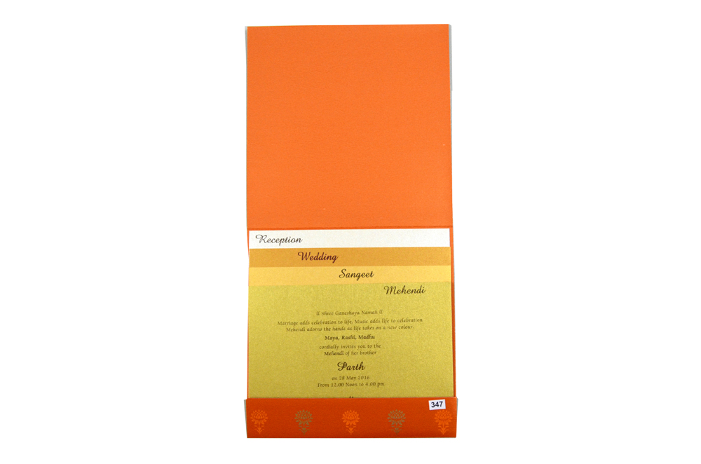 Pink and Orange Designer Wedding Card PR 347 f