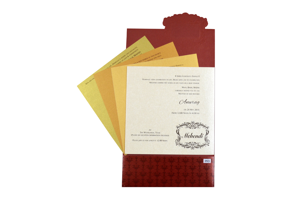 Red Budget Wedding Card Design PR 353 f