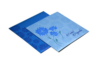 Blue Flower Theme Wedding Card Design PR 354