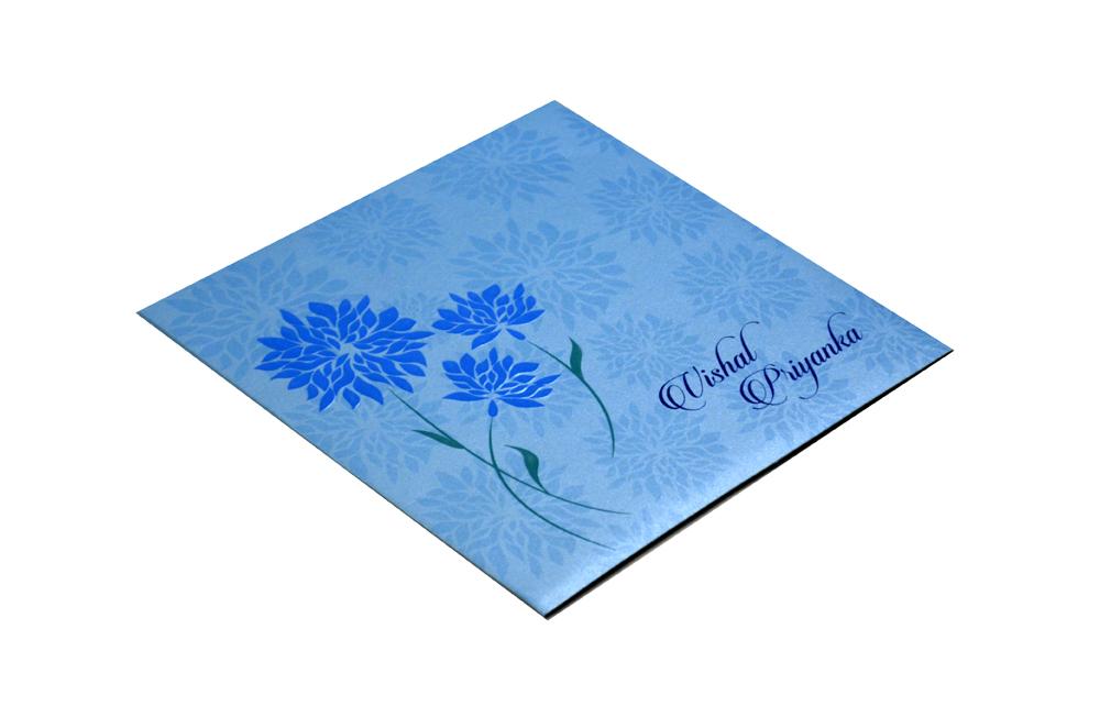 Blue Flower Theme Wedding Card Design PR 354 c