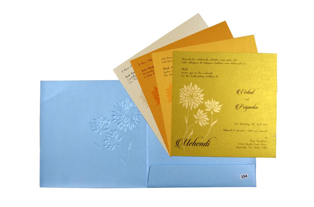 Blue Flower Theme Wedding Card Design PR 354 f