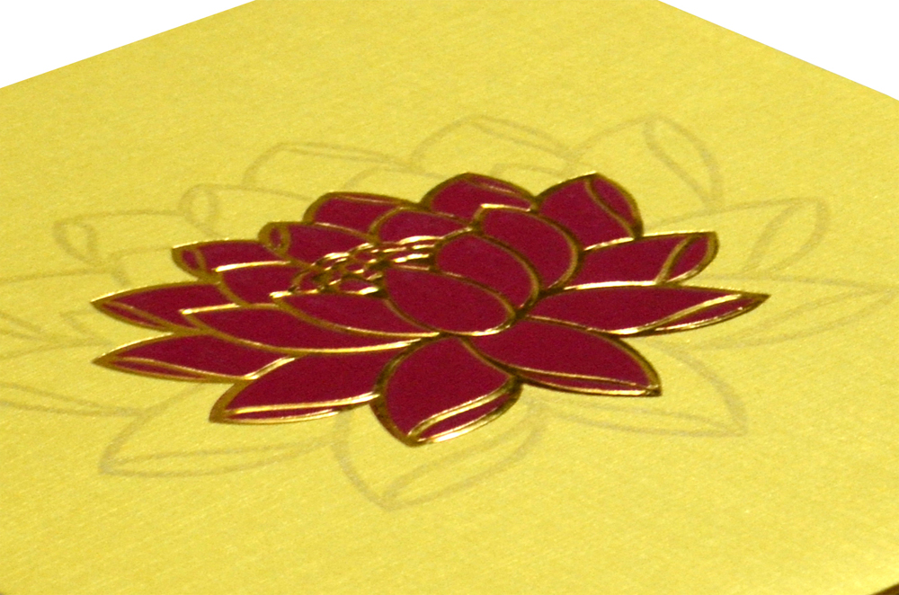 Lotus Theme Budget Wedding Card Design PR 360 b