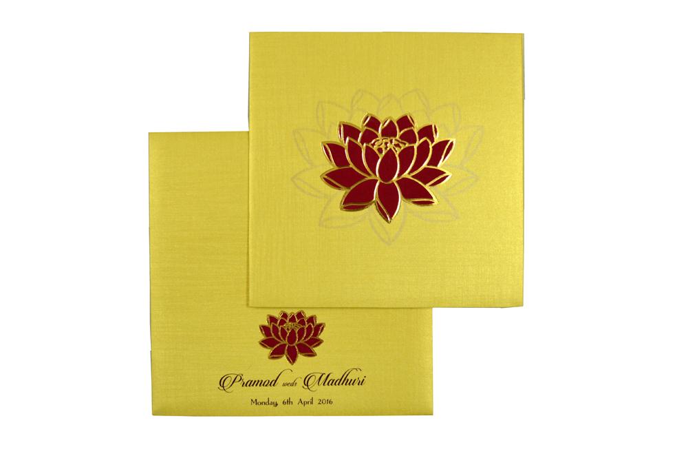Lotus Theme Budget Wedding Card Design PR 360 d