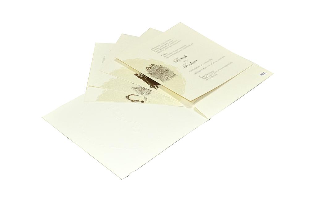 White Budget Hindu Wedding Card Design PR 361 e