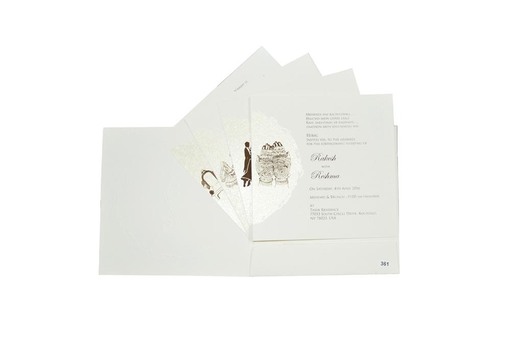 White Budget Hindu Wedding Card Design PR 361 f