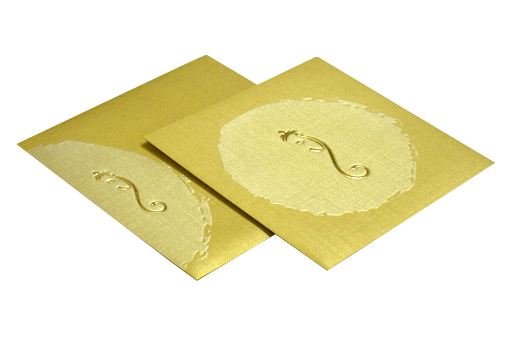 Golden Budget Hindu Wedding Card Design PR 362