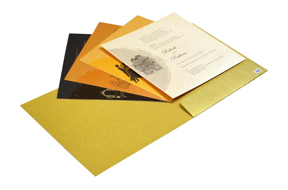 Golden Budget Hindu Wedding Card Design PR 362 e