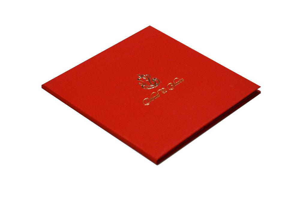 Red Velvet Feel Paper Wedding Card PR 740 c