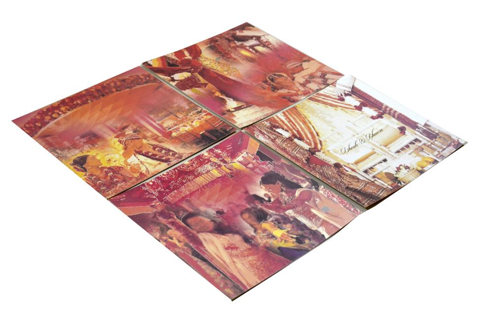 Red Velvet Feel Paper Wedding Card PR 740 g