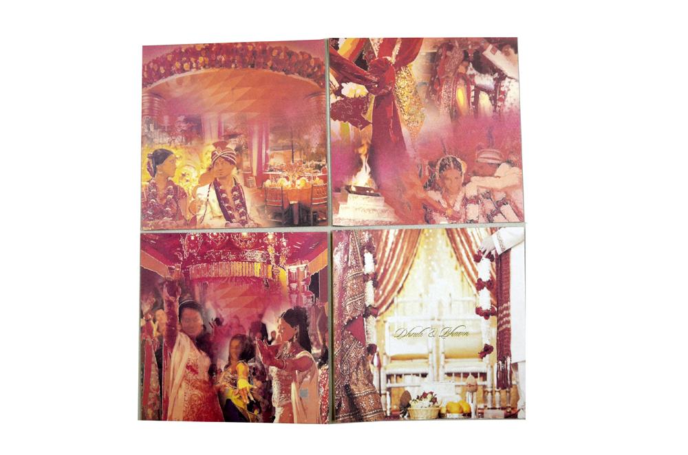 Red Velvet Feel Paper Wedding Card PR 740 h