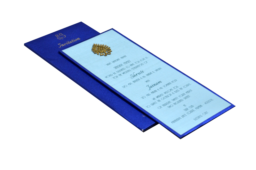 Blue Single Sheet Padded Invitation Design RN 131 BLUE