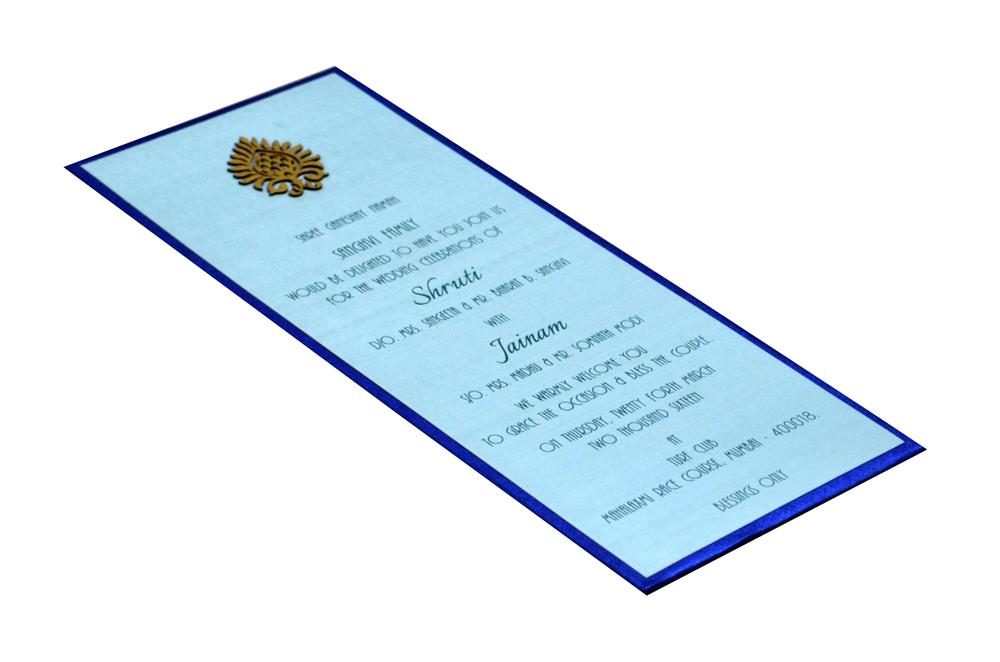 Blue Single Sheet Padded Invitation Design RN 131 BLUE c