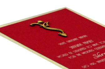 Red Single Sheet Padded Invitation Design RN 131 RED b