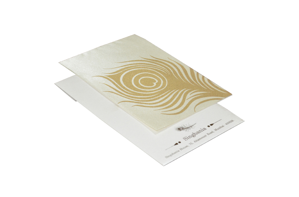 Peacock Theme Satin Invitation RN 139 CREAM