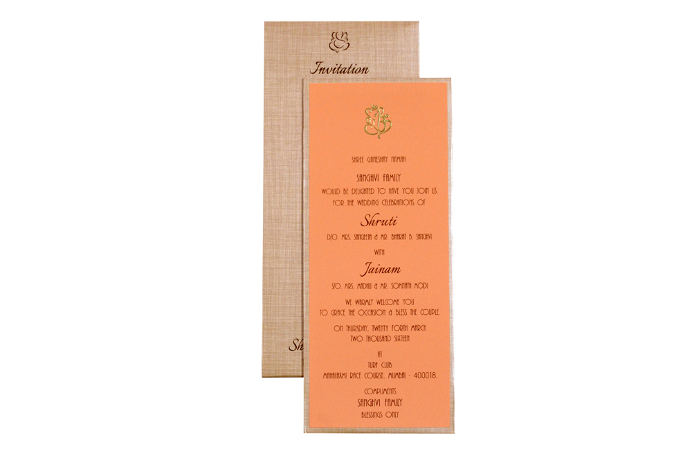 Padded Single Sheet Invitation RN 143 PEACH d