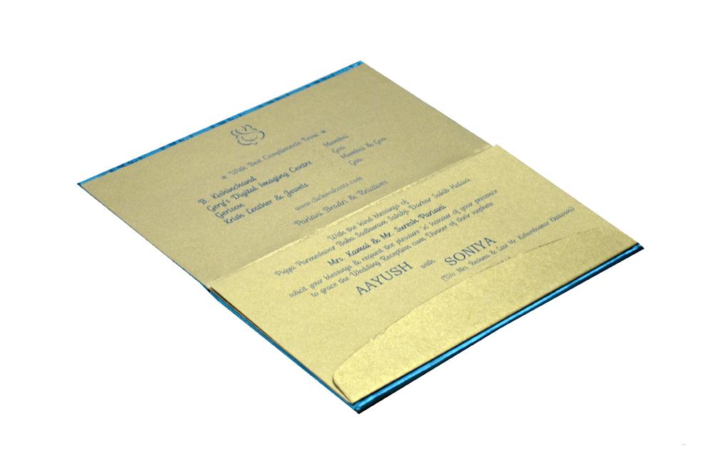 Peacock Theme Satin Cloth Wedding Card RN 1826 e
