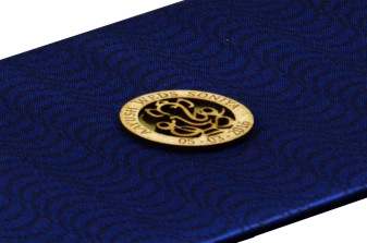 Blue Satin Cloth Card Design RN 1934 Zoom View