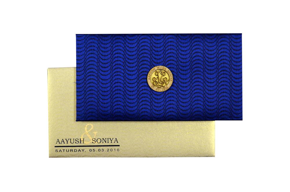 Blue Satin Cloth Card Design RN 1934 Top View