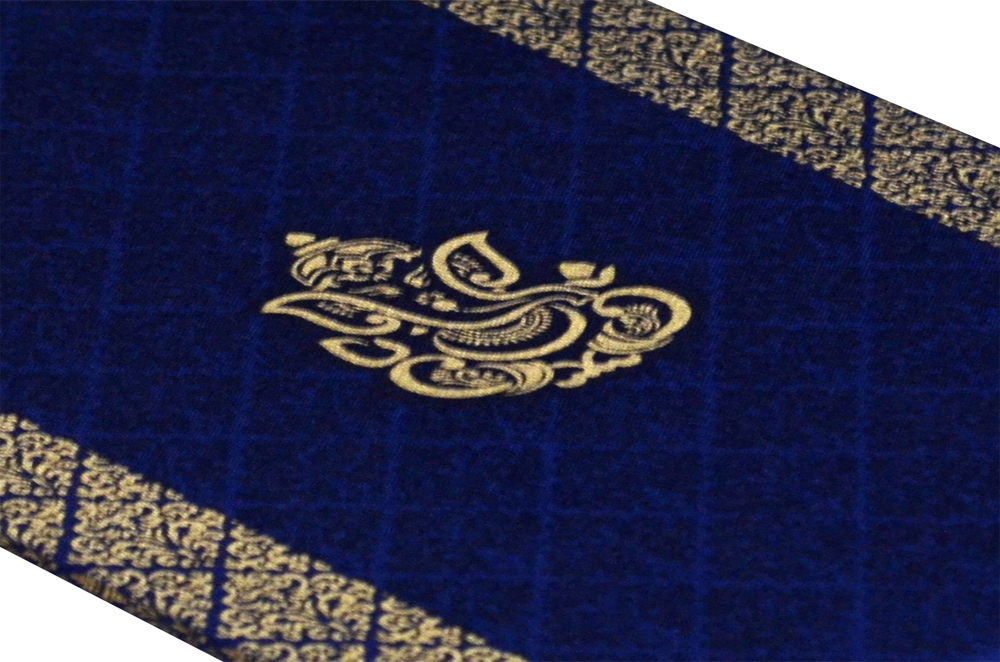 Hindu Satin Cloth Wedding Card Design RN 1976 BLUE b