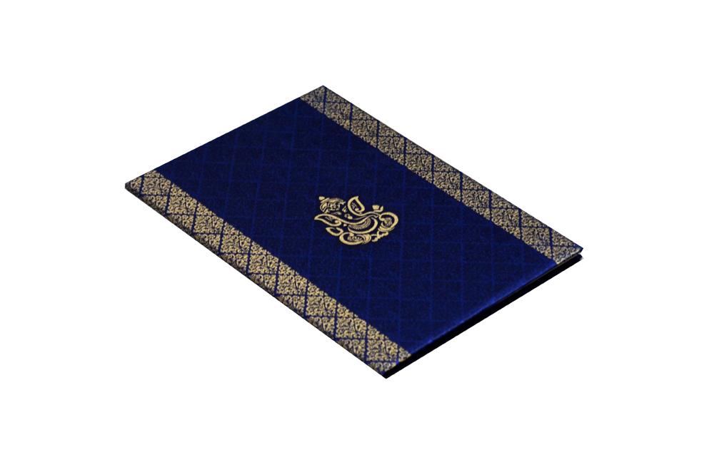 Hindu Satin Cloth Wedding Card Design RN 1976 BLUE c
