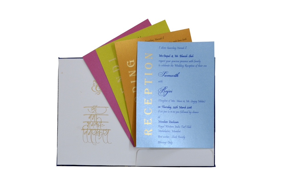 Hindu Satin Cloth Wedding Card Design RN 1976 BLUE f