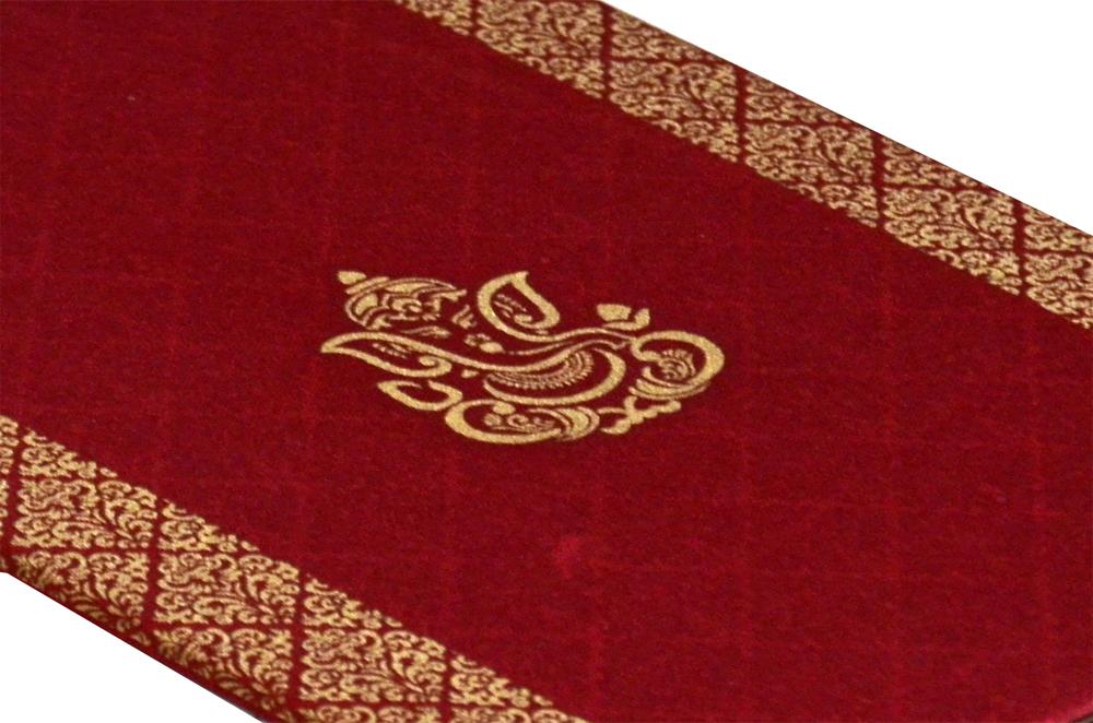 Hindu Satin Cloth Wedding Card Design RN 1976 RED b