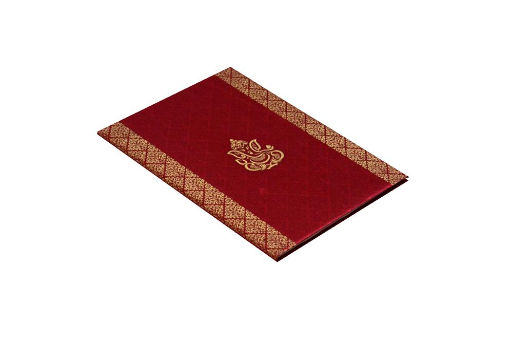 Hindu Satin Cloth Wedding Card Design RN 1976 RED c