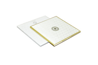 White Satin Cloth Exclusive Wedding Card RN 2001