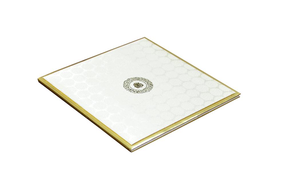 White Satin Cloth Exclusive Wedding Card RN 2001 c