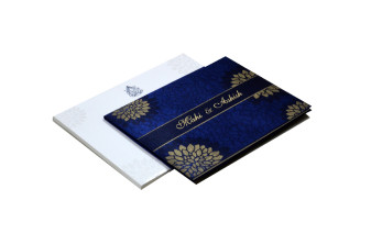 Floral Theme Satin Cloth Wedding Card Design RN 2007 BLUE