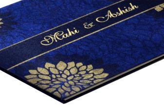 Floral Theme Satin Cloth Wedding Card Design RN 2007 BLUE b