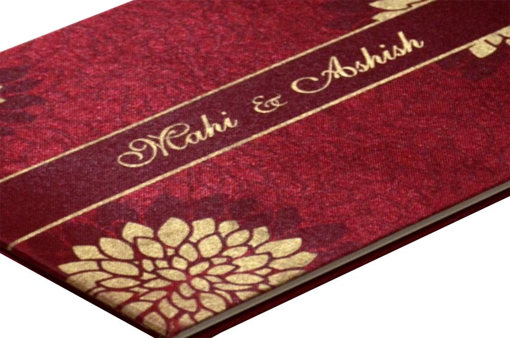 Floral Theme Satin Cloth Wedding Card Design RN 2007 RED b