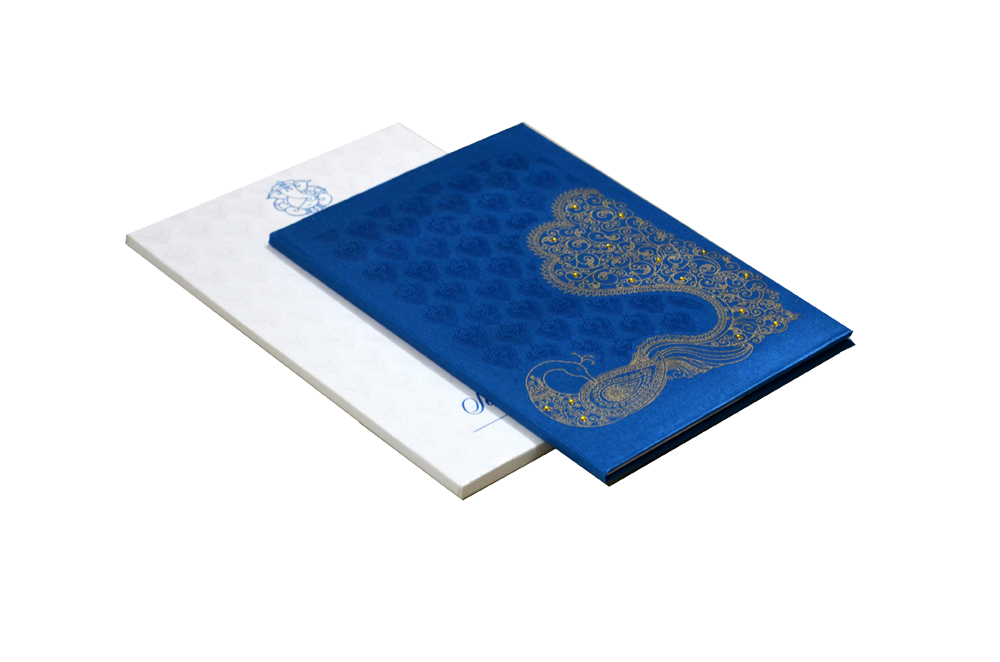 Peacock Theme Satin Cloth Wedding Card Design RN 2008 PEACOCK