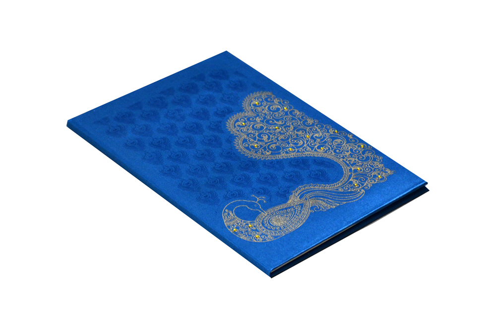 Peacock Theme Satin Cloth Wedding Card Design RN 2008 PEACOCK c