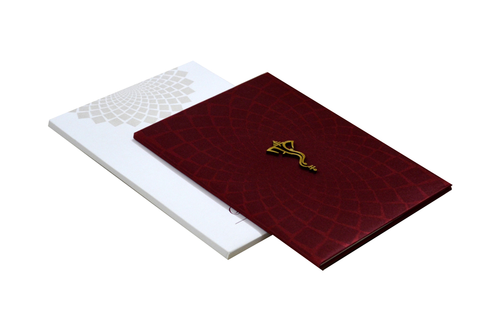 Hindu Satin Cloth Wedding Card Design RN 2009 MAROON