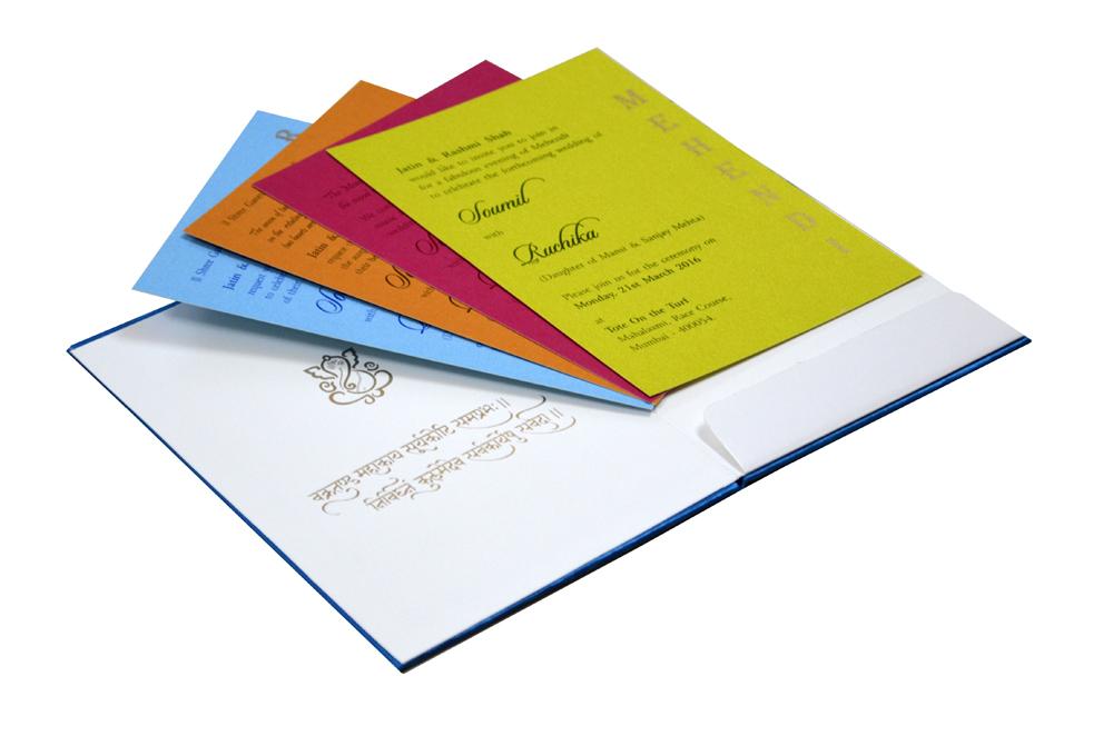 Hindu Satin Cloth Wedding Card Design RN 2009 PEACOCK e