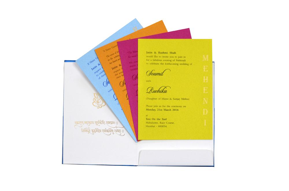 Hindu Satin Cloth Wedding Card Design RN 2009 PEACOCK f