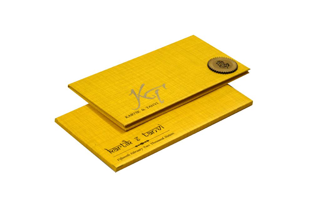 Rust Gold Padded Hindu Wedding Card RN 2021