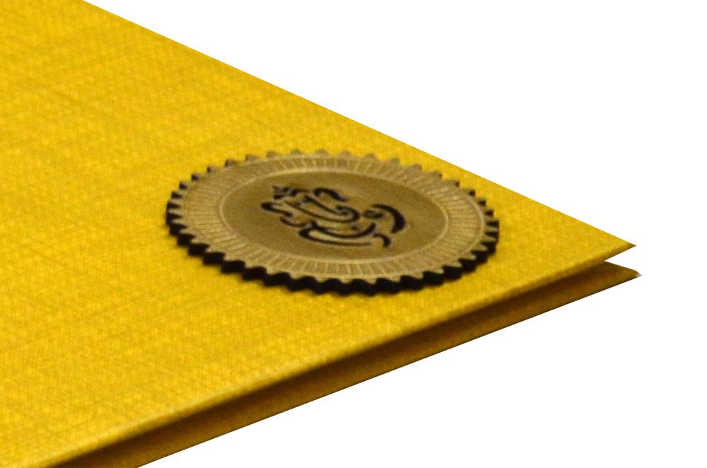 Rust Gold Padded Hindu Wedding Card RN 2021 b