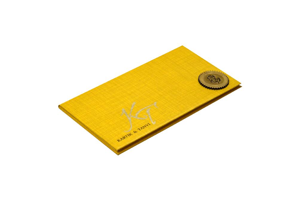 Rust Gold Padded Hindu Wedding Card RN 2021 c