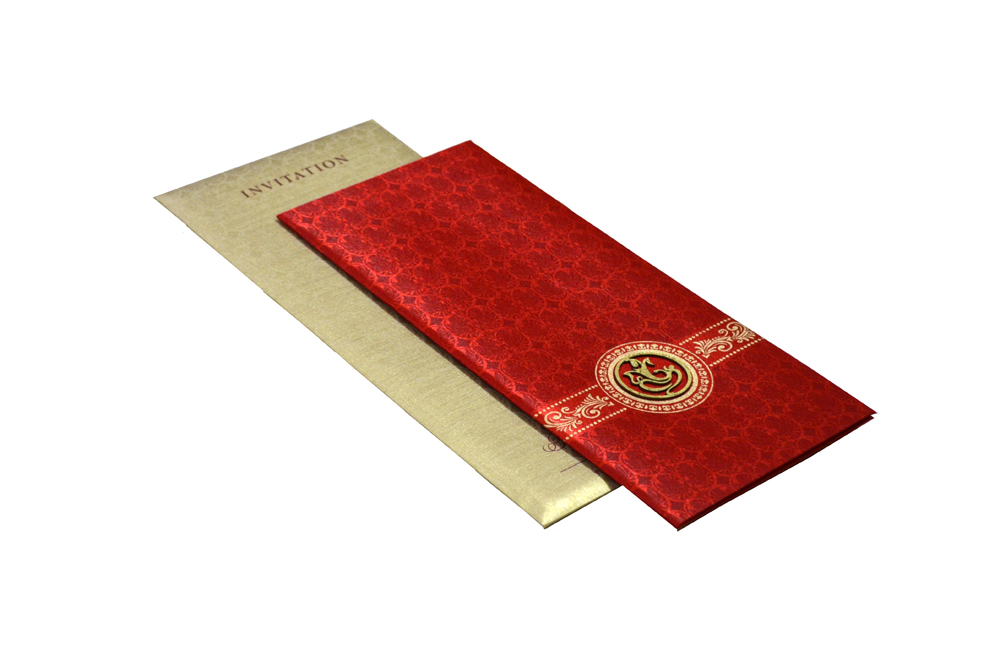 Red Satin Cloth Hindu Wedding Card Design RN 2058
