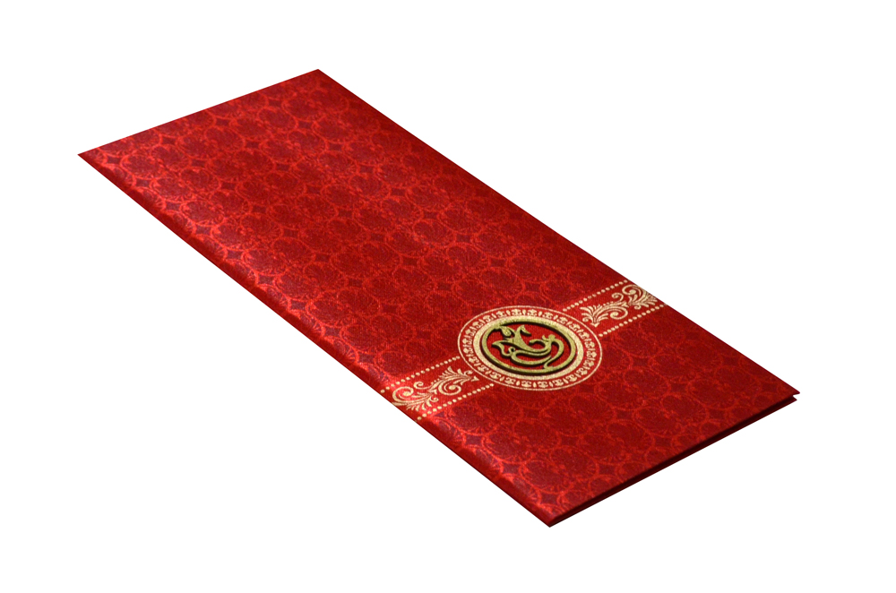 Red Satin Cloth Hindu Wedding Card Design RN 2058 c