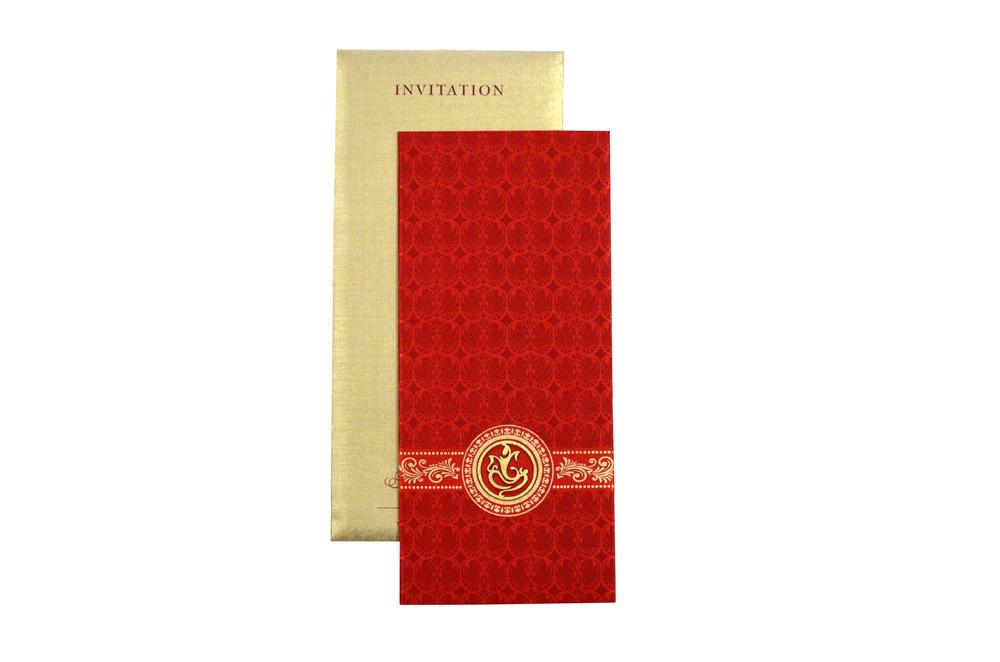Red Satin Cloth Hindu Wedding Card Design RN 2058 d