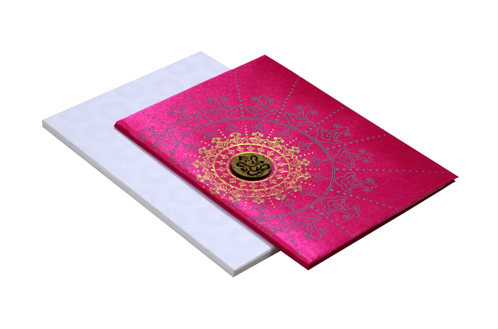 Pink Satin Cloth Wedding Card RR 435 PINK