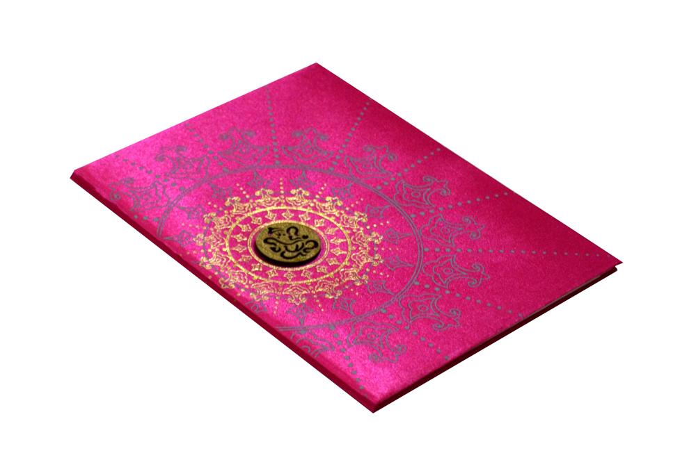 Pink Satin Cloth Wedding Card RR 435 PINK c